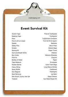 Event Survival #Checklist