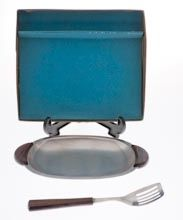 Danish  - Danish Stainless steel Butter dish and butter spatula with rosewood handles