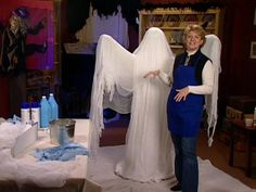Create these flowing ghostly shapes to scare trick-or-treaters on Halloween.