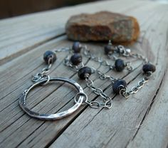 Beaded Chain Necklace Blue Gemstone Silver Ring