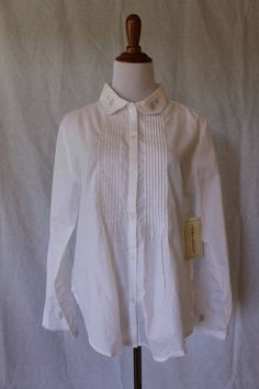 Laura Ashley White Cotton Pintuck shirt with Embroidered collar blouse S NEW #LauraAshley #Blouse #Career
