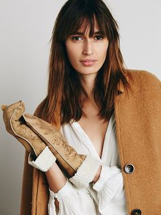 Free People Painted Suede & Shearling Mittens, $199.95