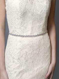 Slender Rhinestone Wedding Dress Bridal Sash Belt in Silver Bridal Sash Belt, Wedding Dress Sash, Wedding Belts, Bridal Dresses, Bridal Belts, Rhinestone Wedding, Crystal Wedding, Wedding Dress Accessories, White Opal