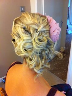 Bridesmaid hair up by Rachael white freelance stylist  Vintage, pin curls, sude updo.