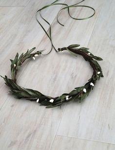 Olive Leaf headpiece girl boy flower crown costume foliage green wedding bridal hair wreath white berry dance recital winter accessory women