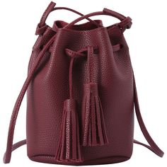Tassel Drawstring Bucket Bag - Burgundy (€14) ❤ liked on Polyvore featuring bags, handbags, shoulder bags, champagne, pu handbag, bucket bag purse, drawstring bucket handbags, bucket bags handbags and burgundy purse