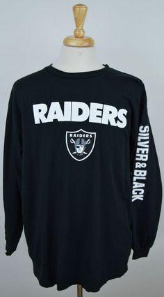 Men s Oakland Raiders NFL football Silver  amp  black long sleeve cotton t- shirt XL 19f7d12d7