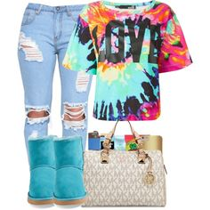 Lilo by bryannilove on Polyvore featuring polyvore, fashion, style, Love Moschino, UGG Australia, MICHAEL Michael Kors, Victoria's Secret and HUF