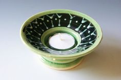 Tea Light Candle Holder/ Handmade Pottery in by riverstonepottery, $10.00  almost looks like martini glasses....