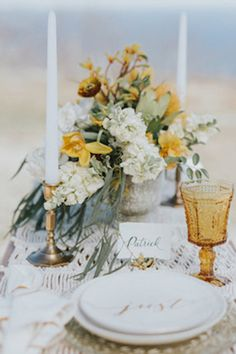 Fall Mountain Wedding Table Design with Yellow and white Rustic fall mountain wedding with golden fall foliage table landscape, yellow floral centerpiece design Fall Mountain Wedding, Fall Wedding, Our Wedding, Mountain Elopement, Wedding Flower Arrangements, Floral Centerpieces, Mustard Yellow Wedding, Yellow Table, Watercolor Wedding Invitations