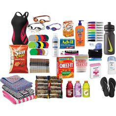 Swim Meet Survival Kit by agirlrose on Polyvore featuring art