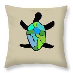 Sea TurtleThrow Pillows,Sea Glass Turtle Blue Green Accent Pillows,Designer Pillows,Home Interior,Decorator Cushion,Beach Decor,Abstract Art by HeatherJoyceMorrill on Etsy