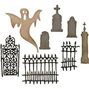 6 pcs Lace Halloween Spooky Graveyard Die Cuts Card Topper Embellishments