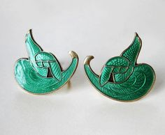 Vintage Thune Earrings Sterling Enamel Norway Bird of Paradise Green from Quick Red Fox Exclusively on Ruby Lane
