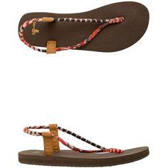 Sanuk Yoga Sling Fling Printed Sandal ($38) ❤ liked on Polyvore featuring shoes, sandals, black, yoga shoes, strap sandals, flat shoes, vegan sandals and strappy flats