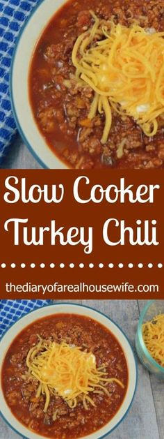 Slow Cooker Turkey Chili. I LOVE this recipe. Chili is my favorite and I've tried so many recipes this one is really one of the BEST!