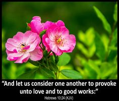 """Hebrews 10:24 (KJV) """"And let us consider one another to provoke unto love and to good works:"""""""