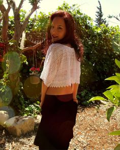 """SALE White lace crop Top boho fantasy style one of a by Youshky """"Previous Collection"""" SALE!  Making room for my new collection.. 25$ Instead of 39$ ! Boho hippie bohemian white lace crop Top shirt. fits size : XS-L Length from shoulder- 42 CM (16.4\8 inches) Bust - 120CM (47inches)"""