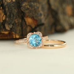Floral Engagement Ring Bridal Set With Milgrain by MidPointDesign