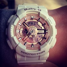 Instagram: Megan_holick12   Baby-g rose gold and white watch. Gshock watch. G-shock watch women's