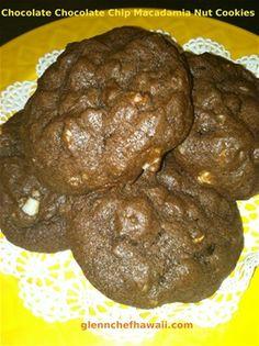 Macadamia Nut Fudge Brownies -  Recipe: makes 1/2 sheet pan 1 1/2 cups melted butter 3 cups sugar 6 eggs 1 Tbls. vanilla 1 cup cocoa powder 1 1/2 cups flour 1 tsp. salt 1 tsp. baking powder 1 cup  chopped macadamia nuts Melt butter, add sugar, eggs and vanilla. Mix well. Sift flour, salt...