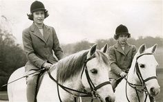 Princess Elizabeth and Princess Margaret with their horses in 1944.