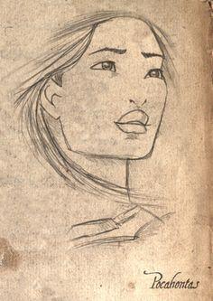 Pocahontas Sketch by: LathronAniron – Paris Disneyland Pictures Disney Sketches, Disney Drawings, Cartoon Drawings, Drawing Sketches, Art Drawings, Drawing Disney, Sketching, Disney Pocahontas, Pocahontas Drawing