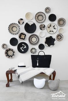 African home decor, african interior, global decor, baskets on wall, wall.