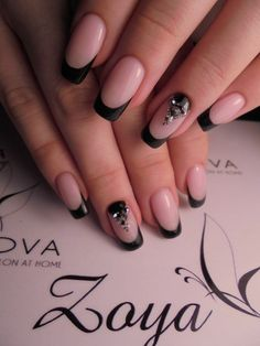 40 - Nail art designs in different colors for you - 1 If you want to make a difference, we offer you nail designs. These nail designs will show you di. Nail Art Designs, French Nail Designs, Fabulous Nails, Gorgeous Nails, Cute Nails, Pretty Nails, Black Acrylic Nails, Nagellack Design, French Tip Nails