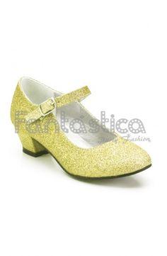 the latest 80c9e f545a Zapatos Color Dorado con Purpurina - Tallas para Niña y Mujer