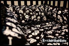 Skull And Crossbones Bedding | ... crib bedding set fabric skull and crossbones guitar girl boy unisex