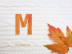 Uppercase letter M with glitter leaf and sweater knit. #fall #autumn #alphabet #typography #initial #monogram #font | maple leaf