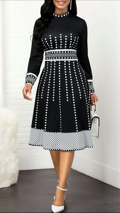 High Waist Mock Neck Geometric Print Dress Women Clothes For Cheap, Collections, Styles Perfectly Fit You, Never Miss It! Trendy Dresses, Tight Dresses, Women's Fashion Dresses, Casual Dresses, Sexy Dresses, Sleeve Dresses, Blue Dresses, Skater Dresses, Dress Outfits