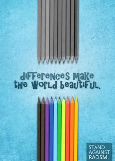 The simple use of pencils to show difference is a really smart idea which not only explains the poster immediately, but really grabs your attention. The background is nice and bright and gives the poster a happy feel, and the font is almost like a child's handwriting which goes well with the pencil idea.