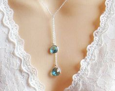 December Birthstone Necklace, Lariat Necklace, Blue Zircon Necklace, Mothers Day Gift, Mom Necklace, Wedding Jewelry, Bridesmaid Gift