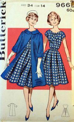 1d54b90b5893d Butterick 9663 Vintage Sewing Pattern - Misses' Coat and Dress Ensemble