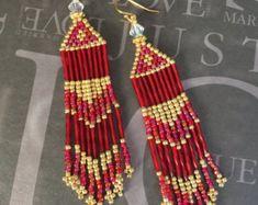 Pastel Fringe Earrings Long Chandelier Seed Bead by WorkofHeart