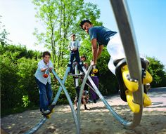 The Danish playground manufacturing company Kompan's 'Miram' play feature provides a coaster-like experien. Kids Indoor Playground, Kids Outdoor Play, Park Playground, Playground Ideas, Outdoor Gym Equipment, Play Equipment, Village Kids, Fitness Trail, Kids Play Spaces