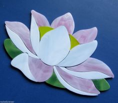 PINK WATERLILY Precut Stained Glass Kit Mosaic Garden Koi Fish Pond Tile Inlay #ByRachelKratzer . Beautiful addition for your mosaic pond projects.