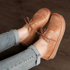 (43.80$)  Watch more here  - 2017 New Woman Flats Shoes Real Leather Hand Made Lace Up Shoes For Women Flat Platform Fashion British Style Retro Women Shoes