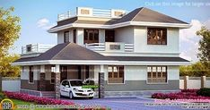 1726 square feet 4 bedroom beautiful Kerala home design by A-CUBE Builders & Developers, Thrissur, Kerala House Front Wall Design, House Roof Design, Simple House Design, Modern House Design, Villa Design, Indian House Exterior Design, Indian Home Design, Kerala House Design, Dream House Exterior
