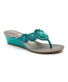 Loving this Bandolino Turquoise Briah Wedge on #zulily! #zulilyfinds