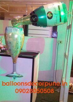 Champange Bottle & Glass In Balloon Decoration Helium Gas, Balloon Decorations, Balloons, Bottle, Glass, Globes, Drinkware, Flask, Corning Glass