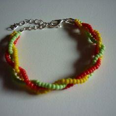 Bracelet tressé vert jaune rouge / perles de rocailles DIY