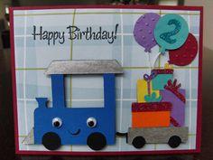boy birthday card - chugga chugga choo choo, little _ is turning two