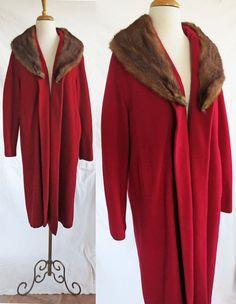 Rserved  Vintage 1950s Cashmere Coat Fur Collar by DustyDesert