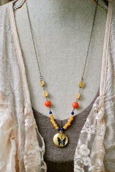 Bohemian butterfly. boho,beaded,locket,layering ,charm necklace. Tiedupmemories