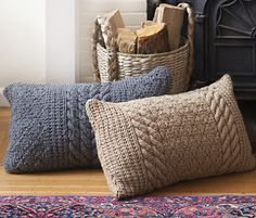 ook at these great Fireside Pillows designed by Katherine Vaughan in Valley Yarns Northampton Bulky. This pattern is available for $6 on Ravelry.