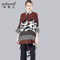 POKWAI Fashion Silk Shirts Women Tops 2017 Luxury Brand Quality Clothing Long Button Blouse Turn-Down Collar Undies Print Top