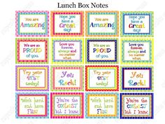 Cupcake Express: Free Printable Lunch Box Notes